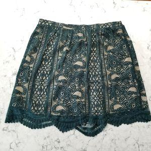 Xhilaration Dark Green Lace Skirt